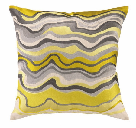 Waterflow Embroidered Pillow - Citron