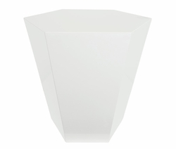 White Lacquer Hexagonal Accent Stool  <font color=a8bb35>NEW</font>