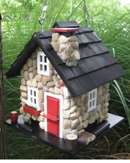 Windy Ridge Bird Feeder in Stone/Red/Black<font color=a8bb35> NEW</font>