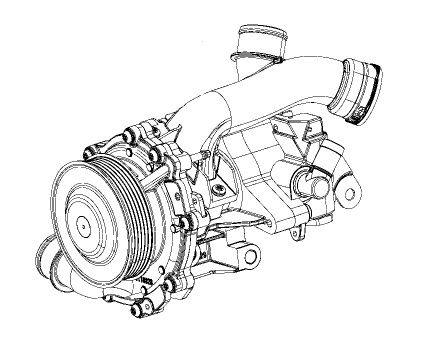 2.2L Water Pump and Power Steering Pump Assembly