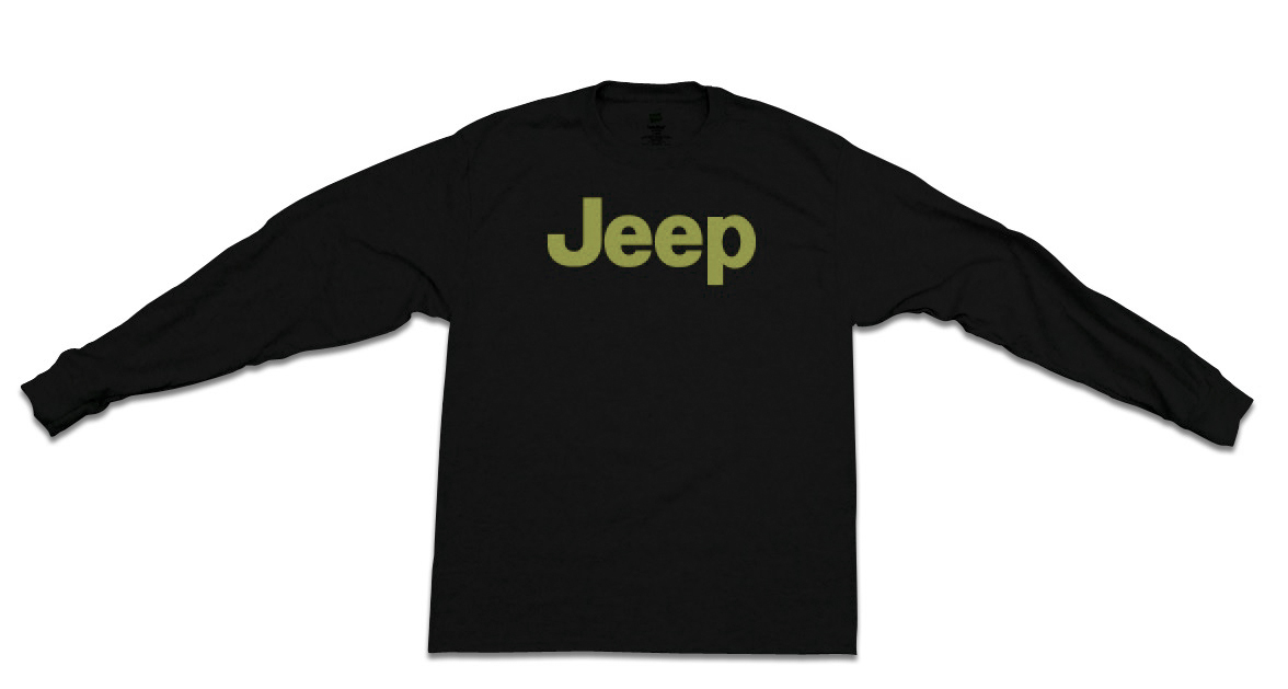Jeep Green Long-Sleeve Black T-Shirt