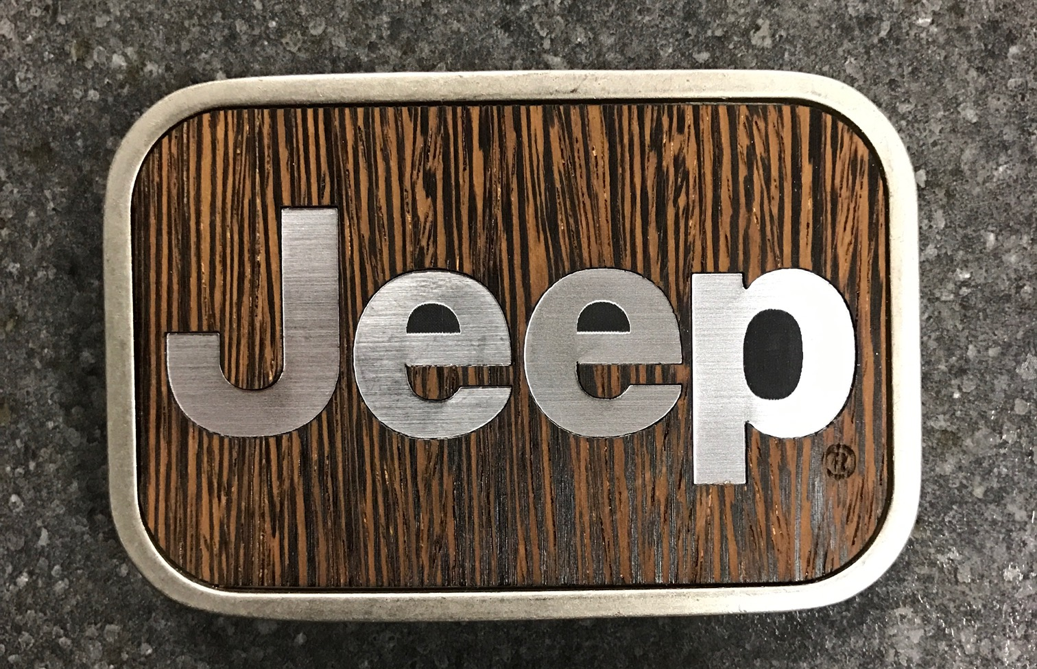 Jeep Wood Grain Belt Buckle