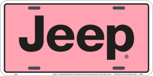 Jeep Pink License Plate