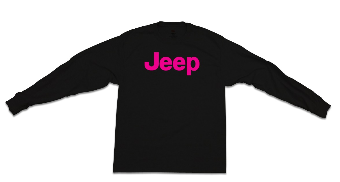 Jeep Pink Long-Sleeve Black T-Shirt
