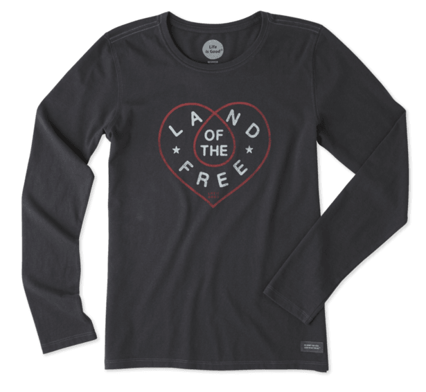 Life is Good Woman's Long Sleeve Land of the Free Heart T-shirt