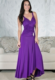 Ruched Full Length Dress with Crystal Accent