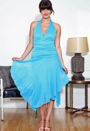 Sheer Pico Hem Halter Dress