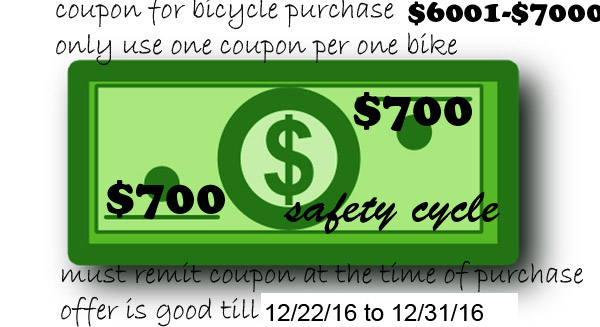 Bicycle Coupon between $6001-$7000 Save 700.00