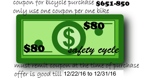 Bicycle Coupon between $651-$850 Save $80.00