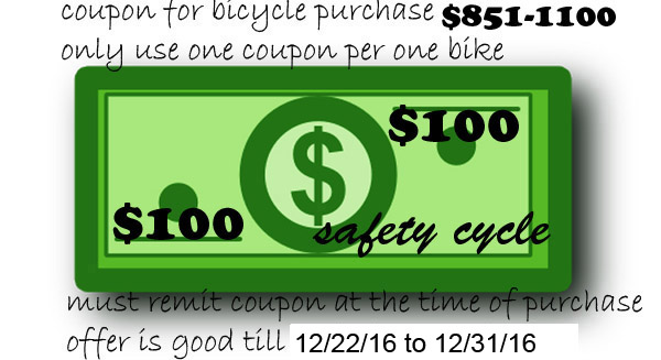 Bicycle Coupon between $851-$1100 Save $100.00
