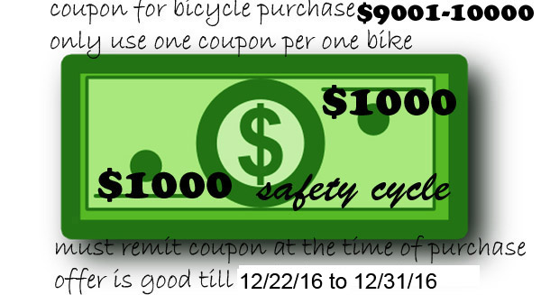 Bicycle Coupon between $9001-$10000 Save 1000.00