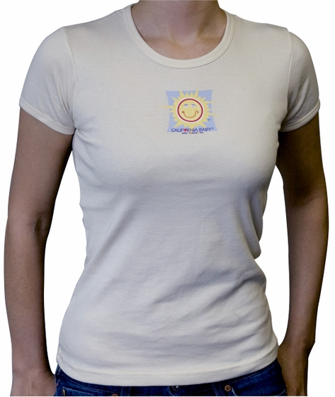 California Baby Women's Small Organic Beige T-Shirt: Sunface