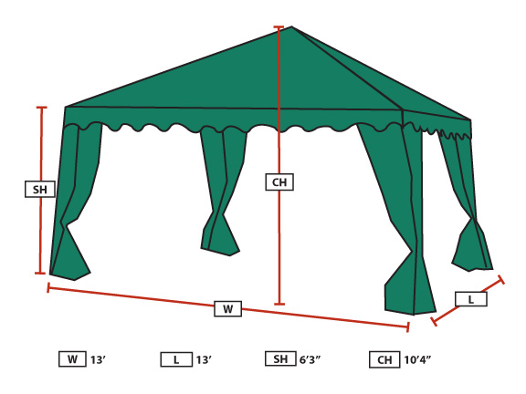 Backyard Canopy With Screens :  13 Foot x 13 Foot Garden Party Canopy with Almond Top and Screen