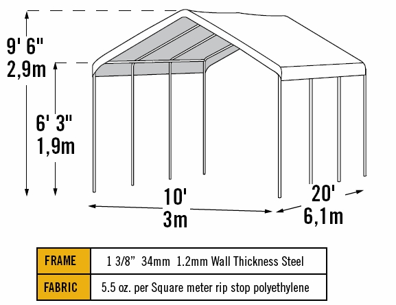 shelterlogic 10 x 20 max ap 8 leg canopy with enclosure kit 23529