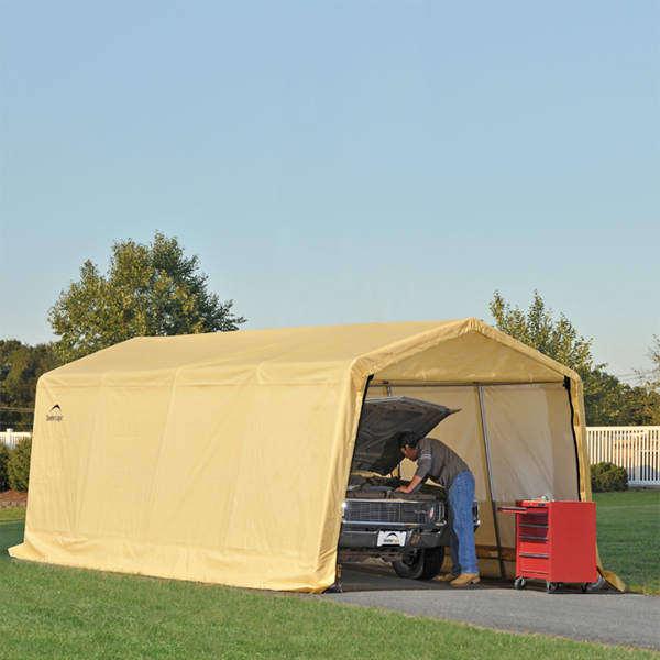ShelterLogic AutoShelter 1020 Portable Garage with Tan ...