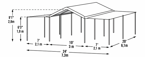 shelterlogic white extension kit for 10 x 20 canopy 1 38 and 2 frame 25730