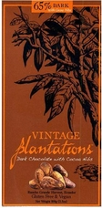 65% Plantations Dark Chocolate Arriba with Cocoa Nibs Bar. 100% Arriba Cocoa, Rainforest Alliance Certified, Sustainable Cocoa Program. 100g/3.5oz.