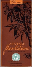75% Plantations Dark Chocolate Vince Ecuador Bar.  Rainforest Alliance Certified, Sustainable Cocoa Program. 100g/3.5oz
