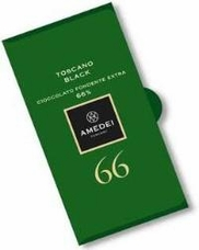 Amedei Toscano Black 66% Extra Dark Chocolate Bar, 50g/1.75oz 6 Pack)