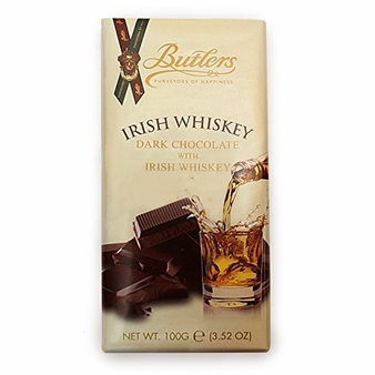 Butlers Irish Whiskey Dark Chocolate with Irish Whiskey Bar 100g /3.52oz (6 Pack)