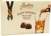 Butlers Irish Whiskey Milk & Dark Chocolate Truffles 125g /4.41 oz  (Single)