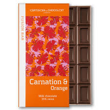 Artisan du Chocolat Carnation & Orange Milk Chocolate 35% Cocoa, 45g/1.59oz