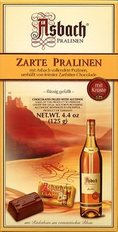 Asbach Zarte Pralinen, Brandy filled Pralines with Sugar Crust, Gift Box, 125g / 4.4oz. (Single)