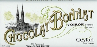 "Bonnat French Chocolate - ""Ceylan"" 75% Cocoa Dark Chocolate, 100g/3.5oz. (5 Pack)"