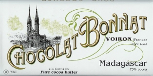 "Bonnat French Chocolate - ""Madagascar"" 75% Cocoa Dark Chocolate, 100g/3.5oz.(5 Pack)"