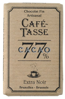 Café - Tasse Belgian Chocolate - 77% Dark Chocolate Bar, 100g/3.5oz. (12 Pack)
