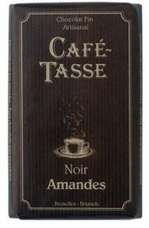 Cafe - Tasse Belgian Chocolate - 54% Dark Chocolate Bar with Almonds, 85g/3oz.