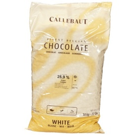 "Callebaut Belgian Chocolate, White Chocolate ""Callets"", Chocolate Chips, 25.9% Cocoa,(11kg/22lb Bag)"