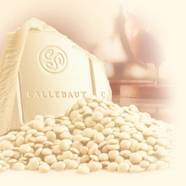 "Callebaut Belgian Chocolate, White Chocolate ""Chips"", Chocolate Chips, 28.1% Cocoa, 2lb Repackaged"