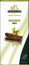 "Cavalier Belgian Chocolate - Milk Chocolate with Hazelnuts ""No Sugars Added"", 37% Cocoa, 85g/3.0oz.(6 Pack)"
