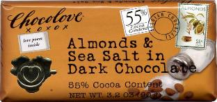 "Chocolove Belgian Chocolate - ""Almonds & Sea Salt"" in Dark Chocolate, 55% Cocoa, 90g/3.2oz. (Single)"