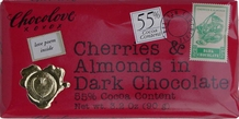 "Chocolove Belgian Chocolate - ""Cherries & Almonds"" in Dark Chocolate, 55% Cocoa, 90g/3.2oz."