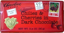 "Chocolove Belgian Chocolate - ""Chilies & Cherries in Dark Chocolate, 55% Cocoa, 90g/3.2oz."