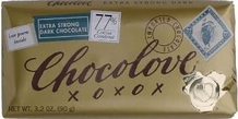 Chocolove Belgian Chocolate - Extra Strong Dark Chocolate, 77% Cocoa, 90g/3.2oz.
