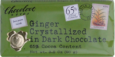 "Chocolove Belgian Chocolate - ""Ginger"" in Dark Chocolate, 65% Cocoa, 90g/3.2oz.(6 Pack)"