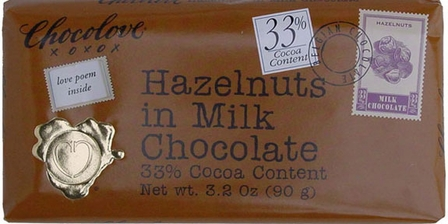 "Chocolove Belgian Chocolate - ""Hazelnuts"" in Milk Chocolate, 33% Cocoa, 90g/3.2oz. (Single)"