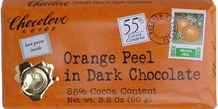 "Chocolove Belgian Chocolate - ""Orange Peel"" in Dark Chocolate, 55% Cocoa, 90g/3.2oz."