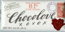 "Chocolove Belgian Chocolate - ""Organic"" Dark Chocolate, 61% Cocoa, 90g/3.2oz."
