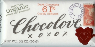 "Chocolove Belgian Chocolate - ""Organic"" Dark Chocolate, 61% Cocoa, 90g/3.2oz. (12 Pack)"