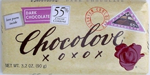 Chocolove Belgian Chocolate - Pure Dark Chocolate, 55% Cocoa, 90g/3.2oz.