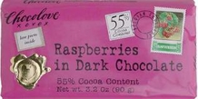 "Chocolove Belgian Chocolate - ""Raspberries"" in Dark Chocolate, 55% Cocoa, 90g/3.2oz."