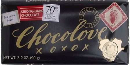 Chocolove Belgian Chocolate - Strong Dark Chocolate, 70% Cocoa, 90g/3.2oz. (Single)