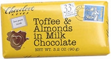 Chocolove Belgian Chocolate - Toffee & Almonds in Milk Chocolate, 90g/3.2oz.
