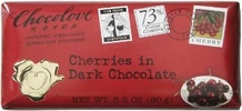 "Chocolove ""Cherries in Dark Chocolate"", 73% Cocoa, 90g/3.2oz. (12 Pack)"