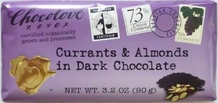 "Chocolove - ""Currants & Almonds in Dark Chocolate"", 73% Cocoa, 90g/3.2oz."