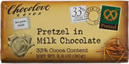 "Chocolove - ""Pretzel in Milk Chocolate"", 33% Cocoa, 90g/3.2oz."